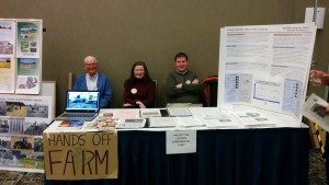 The Coalition's booth at the March 7, 2016 meeting. F.l.t.r.: Clarke Topp, Leslie Maitland, Peter Anderson